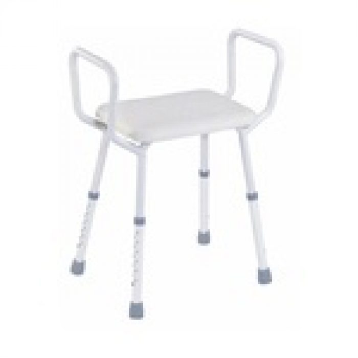 SHOWER STOOL WITH ARMS.
